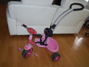 Tricycle vélo avec pousseur, ceinture et siège confortable