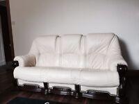 Solid wood oak genuine leather sofa