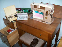 desk and stool fold under sewing machine
