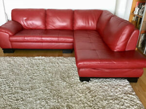 Leather sectional sofa, red