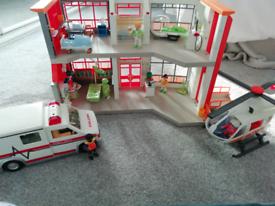Playmobile hospital with ambulance