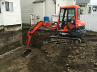 Mini Excavator, Truck and Dump Trailer for hire.