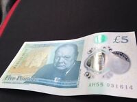 BN £5 note Polymer low serial number