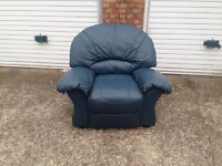 "Blue flaux leather recliner armchair £30 ""free local delivery"""