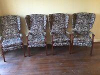 High back wing chairs