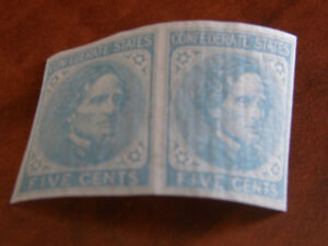 PAIR OF CONFEDERATE STATE STAMPS - ENGLISH PAPER - MINT