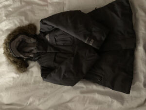 North face girls grey goose down jacket size XXS (5)