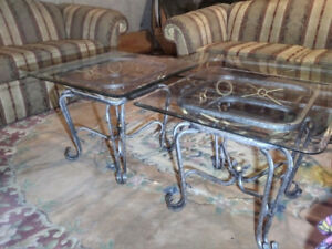 Two Glass End Tables - Elegant Iron