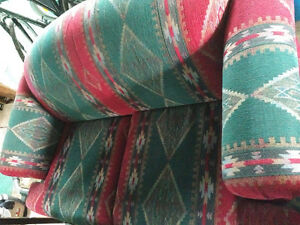 Red and green comfy couch and love seat
