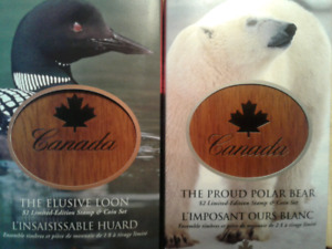 RCM STAMP AND COIN SETS  -THE ELUSIVE LOON AND PROUD POLAR BEAR