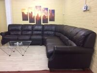 Massive 7 Seater Brown Leather Corner Sofa