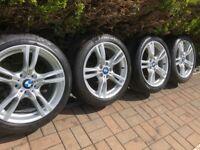 "Genuine Bmw 3 4 Series 18"" 400 M Sport Alloy Wheels & Tyres F30 31 32 E90 91 Z4"