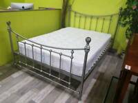 "4ft 6"" Metal Framed Double Bed With Mattress - Can Deliver For £19"