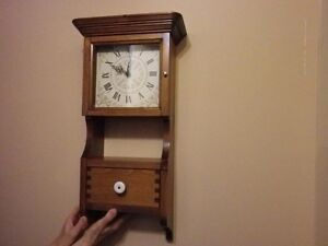 **Hand Made Pine Wooden Clock with drawer...works well..