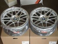 """19"""" BMW E46 M3 CSL Sport Style Hyper Silver Staggered Wheels"""