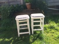 2 Vintage wooden kitchen stools, painted - great as they are or paint striping project :)