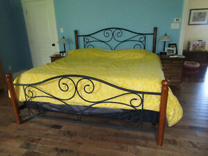 King size bed frame, wood and metal