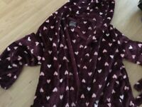 Burgundy new look heart dressing gown size large