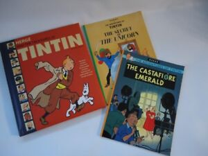 Herge and the treasures of Tintin and 2 softcover tintin books