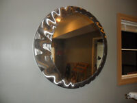Two round mirrors/stainless frames