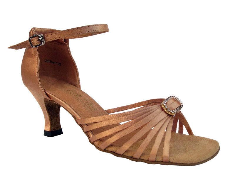 1671B Brown Satin Ballroom Salsa Mambo Latin Dance Shoes heel 2.5 Size 8