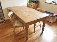 Real Pine Wood Dining Table with 4 Chairs