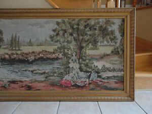 Vintage collectible framed decorative tapestry art wall hanging London Ontario image 3