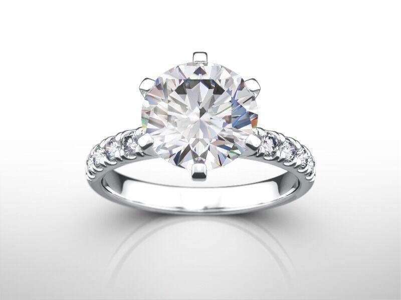 3 Carat Round Cut D VS2 Diamond Solitaire Engagement Ring 14k White Gold