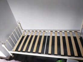 Metal bed frame with crystal balls