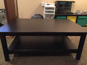 IKEA black coffee table and end table
