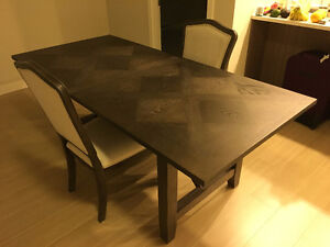 Modern dining table and two chairs
