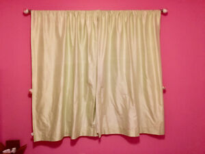 Pottery Barn raw silk light green curtains and rods /finials