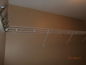 Complete walkin closet wire shelving system