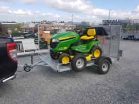 Flatbed trailer ramp for moving quad lawnmower atv