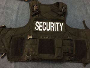 Security Guard Bullet Resistant Vest w/ MOLLE + Pouch