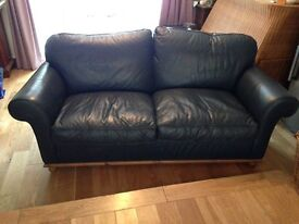 Beautiful dark blue leather sofa - VGC