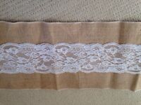 Wedding table runners and bunting