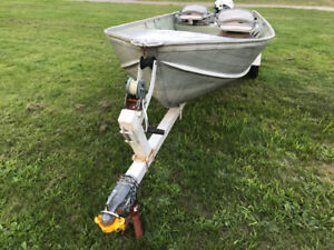 12 Foot Deep and Wide Aluminum Boat, Motor and Trailer
