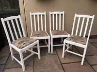 4 solid oak Antique white vintage retro chairs