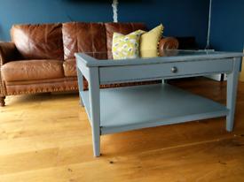 IKEA square grey glass top coffee table