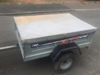 Larger Erde 142 galvanised tipping trailer + cover