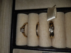 Woman and mens wedding band and engagement ring