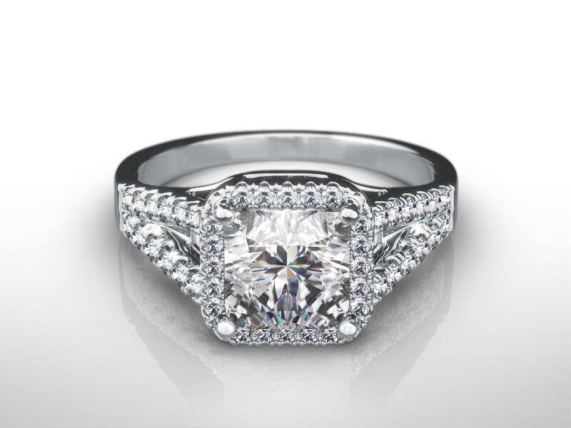 1 3/4 Ct Princess Cut D/vvs2  Enhanced Diamond Engagement Ring 14k White Gold