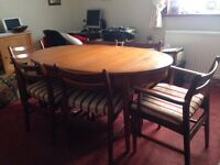 Extending table 6 chairs solid wood