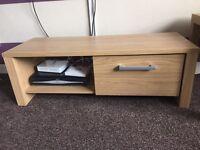 Oak effect Tv unit and 2 tables