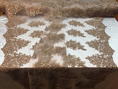 Lace Fabric Corded Flowers Embroidery With Sequins For Dress Coffee By The Yard