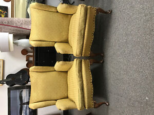 Pair antique French wingback chairs down filled