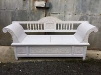 Painted wooden carved bench with integral storage