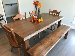 New Hand Scraped Rustic Harvest Dining Table and Bench