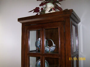 Heavy Solid Wood and Glass Curio / China / Display Cabinet Kawartha Lakes Peterborough Area image 5